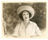 5x353 HULA 8x10 still '27 great close up concerned Clara Bow wearing straw hat in Hawaii!