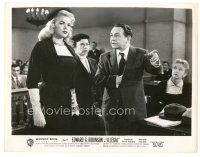 5x365 ILLEGAL 8x10.25 still '55 Edward G. Robinson looks at sexy Jayne Mansfield in courtroom!