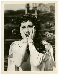 5x382 IVANHOE 8x10 still '52 great close up of shocked Elizabeth Taylor with hands on her face!