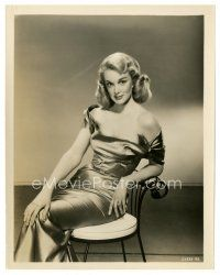5x388 JAN STERLING 8x10 still '50s great seated portrait of the sexy blonde in cool dress!