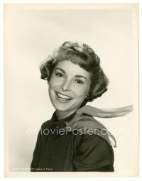 5x395 JANET LEIGH 8x10 still '40s head & shoulders portrait with scarf & smiling really big!