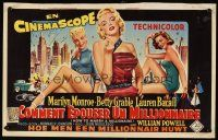 6a003 HOW TO MARRY A MILLIONAIRE Belgian '53 sexy Marilyn Monroe, Betty Grable & Lauren Bacall!