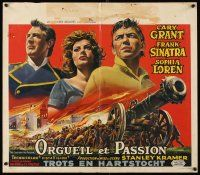 6a039 PRIDE & THE PASSION Belgian '60 different art of Cary Grant, Frank Sinatra & Sophia Loren!