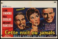6a053 THIS COULD BE THE NIGHT Belgian '57 Jean Simmons between Paul Douglas & Anthony Franciosa!