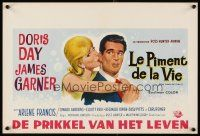 6a055 THRILL OF IT ALL Belgian '63 different artwork of Doris Day kissing James Garner!