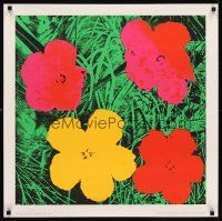 6j005 ANDY WARHOL FLOWERS 28x28 French art print '70 red & yellow style!