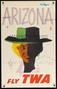 6j080 FLY TWA ARIZONA travel poster '60s cool cowgirl artwork & airplane by Austin Briggs!
