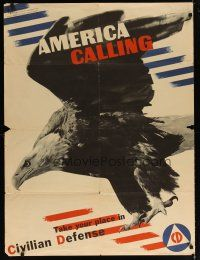 6j030 AMERICA CALLING 30x40 WWII war poster '42 take your place in Civilian Defense!