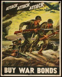 6j051 ATTACK ATTACK ATTACK 22x28 WWII war poster '42 dramatic Warren art of soldiers advancing!