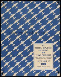 6j075 WE FEDERAL EMPLOYEES ARE BUYING 90 FLYING FORTRESSES 22x28 WWII war poster '43 cool design!