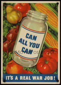6j055 CAN ALL YOU CAN IT'S A REAL WAR JOB 16x23 WWII war poster '43 cool art of vegetables!