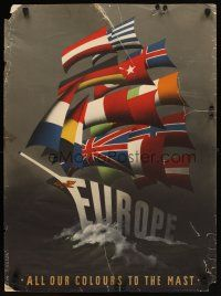6j058 EUROPE ALL OUR COLOURS TO THE MAST 22x29 Dutch WWII war poster '50 war recovery, ship art!