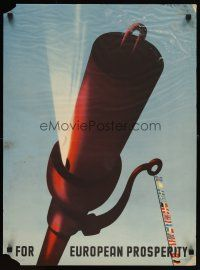 6j059 FOR EUROPEAN PROPSERITY 20x28 Dutch WWII war poster '50 Flem artwork of work whistle!