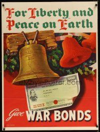 6j034 GIVE WAR BONDS 29x38 WWII war poster '44 for liberty & peace on earth, Simpson art!