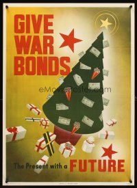 6j060 GIVE WAR BONDS THE PRESENT WITH A FUTURE 20x28 WWII war poster '43 art of Christmas tree!