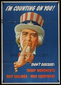 6j035 I'M COUNTING ON YOU 29x40 WWII war poster '43 art of Uncle Sam urging silence by Helguerou!