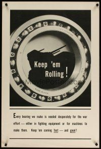 6j038 KEEP 'EM ROLLING 24x36 WWII war poster '40s great image of roller bearing & tank!