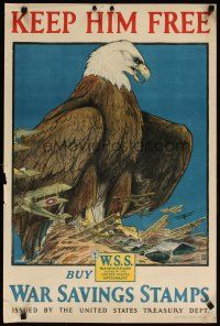 6j025 KEEP HIM FREE 20x30 WWI war poster '17 incredible bald eagle art by Charles Bull