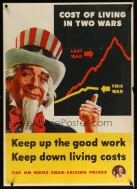 6j040 KEEP UP THE GOOD WORK KEEP DOWN LIVING COSTS 29x40 WWII war poster '44 Uncle Sam artwork!