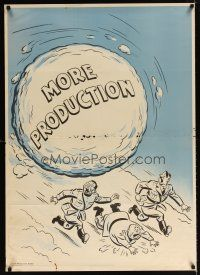 6j044 MORE PRODUCTION 29x40 WWII war poster '42 art of snowball chasing Axis leaders!