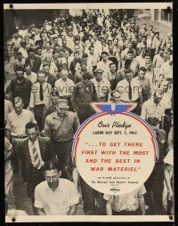 6j045 OUR PLEDGE LABOR DAY SEPT. 7, 1942 28x36 WWII war poster '42 cool image of workers!