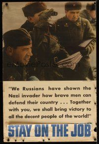 6j046 PRODUCE FOR VICTORY 24x36 WWII war poster '42 image of Russian officers!