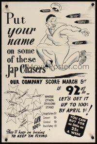 6j066 PUT YOUR NAME ON SOME OF THESE JAP CHASERS 20x30 WWII war poster '40s racist MacKenzie art!