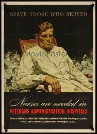 6j068 SERVE THOSE WHO SERVED 20x28 WWII war poster '45 Crockwell art of wounded soldier!