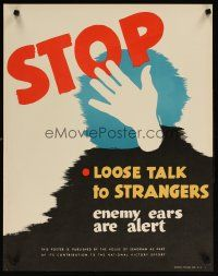 6j069 STOP LOOSE TALK TO STRANGERS ENEMY EARS ARE ALERT 22x28 WWII war poster '40s Essargee art!