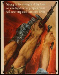 6j070 STRONG IN THE STRENGTH OF THE LORD 22x28 WWII war poster '42 Martin art of fighting hands!