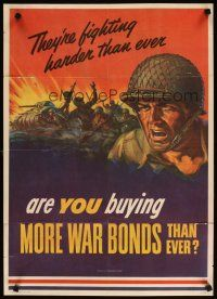 6j071 THEY'RE FIGHTING HARDER THAN EVER 20x28 WWII war poster '43 Hewitt artwork of soldier!