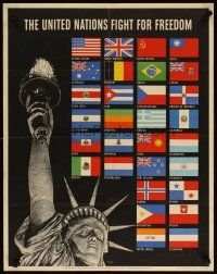 6j072 UNITED NATIONS FIGHT FOR FREEDOM 22x28 WWII war poster '42 art of Lady Liberty & 30 flags!