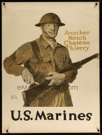 6j022 U.S. MARINES ANOTHER NOTCH 30x40 WWI war poster '18 another notch from Chateau Thierry!