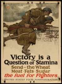 6j026 VICTORY IS A QUESTION OF STAMINA 21x29 WWI war poster '17 cool art of WWI soldiers by Dunn!