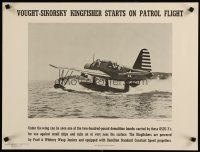 6j074 VOUGHT-SIKORSKY KINGFISHER STARTS ON PATROL FLIGHT 19x25 WWII war poster '40s seaplane!