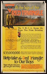 6j023 Y.M.C.A. AT THE SIGN OF THE RED TRIANGLE 24x38 WWI war poster '17 fight for character!