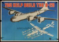 6j049 YOU HELP BUILD THE B-29 26x37 WWII war poster '45 image of bomber & parts schematic!