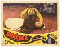 7d322 DRACULA LC #6 R51 Tod Browning, c/u of crazed Dwight Frye kneeling over unconscious maid!