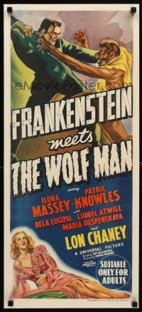 7e069 FRANKENSTEIN MEETS THE WOLF MAN linen Aust daybill '43 monsters Bela Lugosi & Lon Chaney Jr.!