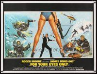 7e015 FOR YOUR EYES ONLY linen British quad '81 Bysouth art of Roger Moore as Bond 007 & sexy legs!