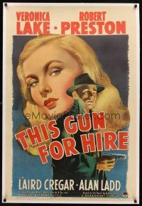 7e187 THIS GUN FOR HIRE linen 1sh '42 classic image of Alan Ladd with gun & sexy Veronica Lake!