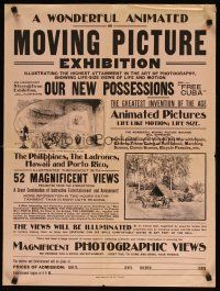 7f076 WONDERFUL ANIMATED OR MOVING PICTURE EXHIBITION special 21x28 c1890s Optigraph festival!