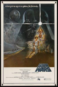 7f002 STAR WARS 1st printing int'l style A 1sh '77 George Lucas classic sci-fi epic, art by Tom Jung!