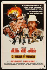 7h018 21 HOURS AT MUNICH 1sh '76 cool art of William Holden, Franco Nero with grenade!