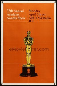 7h022 37TH ANNUAL ACADEMY AWARDS 1sh '65 cool image of Oscar statue!