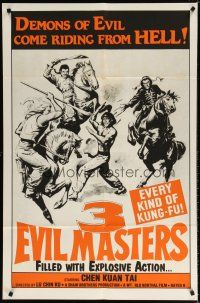 7h019 3 EVIL MASTERS 1sh '80 every kind of kung-fu, cool action artwork!