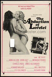 7h029 ABDUCTION OF LORELEI 1sh '77 image of sexy naked lesbians kissing, extremely x-rated!