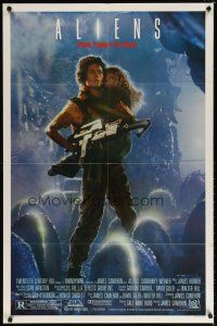 7h040 ALIENS 1sh '86 James Cameron, Signourney Weaver as Ripley, this time it's war!