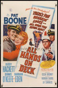 7h041 ALL HANDS ON DECK 1sh '61 Navy Captain Pat Boone, sexy Barbara Eden on ladder!