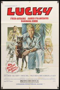 7h046 AMAZING DOBERMANS 1sh R78 Fred Astaire, sexy Barbara Eden, Lucky!